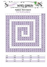 Numbers Spelling Word Search