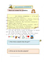 English Worksheet: My school schedule