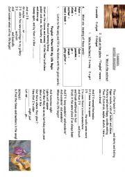 English Worksheet: Tangled Chores Song