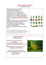 English Worksheet: TREES FOR LIFE (2 poems and a table to fill in)