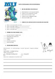 english worksheets monsters university. Black Bedroom Furniture Sets. Home Design Ideas