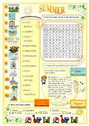 English Worksheet: Summer