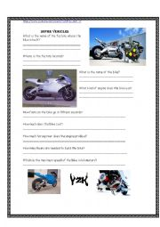 English Worksheet: Video Activity - Super vehicles