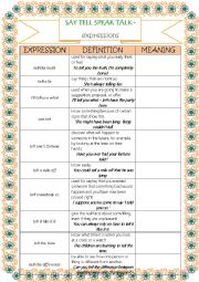 English Worksheet: SAY, TELL, TALK, SPEAK - expressions - part 2