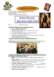 English Worksheet: WRITING .. MOVIE REVIEW