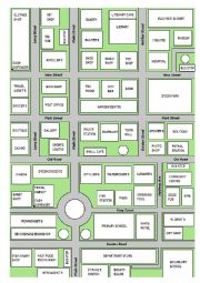 English Worksheet: My Town - a map of an imaginary town