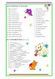English Worksheet: Personal Questions and Verb To Be