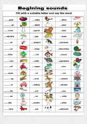 English Worksheet: Beginning sounds