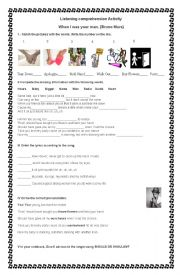 English Worksheet: When i was your man, Bruno Mars