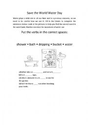 English Worksheet: Save the water, save the planet.