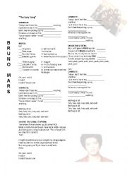 English Worksheet: THE LAZY SONG , BRUNO MARS