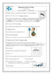 English Worksheet: Buying a plane ticket (part 1)