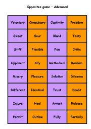 English Worksheet: Antonyms Matching Cards