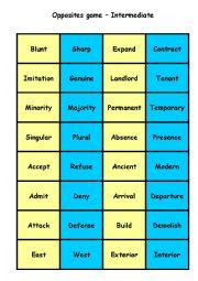 English Worksheet: Antonyms Matching Cards - Intermediate