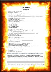 English Worksheet: Girl on Fire - Alicia Keys