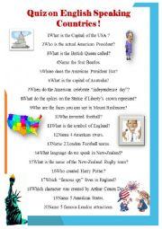 English Worksheet: Quiz on English Speaking Countries
