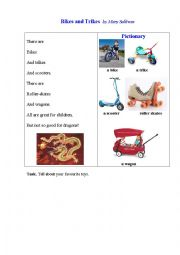 English Worksheet: BIKES AND TRIKES (a poem + a pictionary)