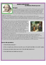 English Worksheet: Summary of the plot, Romeo and Juliet