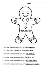 English Worksheet: Gingerbread Man Guided Colouring