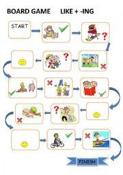 English Worksheet: Like + ing board game