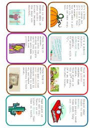 English Worksheet: Easier Said Than Done - Comparative Guessing Card Game (1/2)