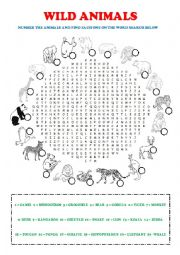 Wild Animals Word Search