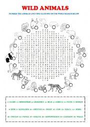 English Worksheet: Wild Animals Word Search