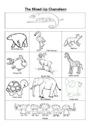 English worksheets the mixed up chameleon vocabulary for Mixed up chameleon coloring page