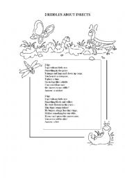 English Worksheet: 2 RIDDLES ABOUT INSECTS