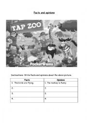 English Worksheet: Facts and Opinions worksheet