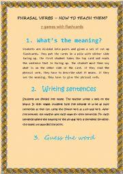How to teach phrasal verbs - games/ideas