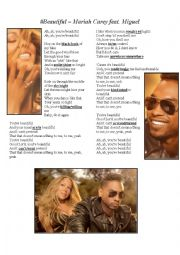 English Worksheet: Beautiful - Mariah Carey feat Miguel SONG