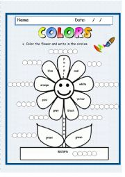 English Worksheet: Color the flower