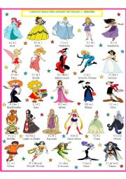 English Worksheet: Cartoon Characters Pictionary - Heroines 1