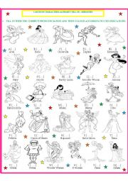 English Worksheet: Cartoon Character Fill in & color 2 - Heroines