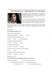 English Worksheet: Amy Winehouse