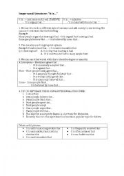 English Worksheet: Impersonal Structure Practice