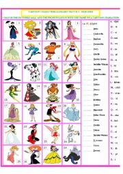 English Worksheet: Cartoon Characters Matching Exercise -heroines 3