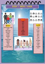 English Worksheet: Adjectives related to BODY/ SKIN / HAIR