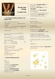 English Worksheet: The Boy Does Nothing - Alesha Dixon