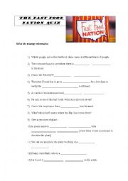 English Worksheet:  Film: Fast Food Nation Quiz