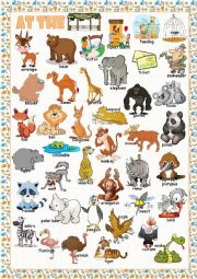 English Worksheet: At the Zoo (Picture Dictionary)