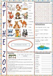 English Worksheet: At the Zoo (Vocabulary Exercises)