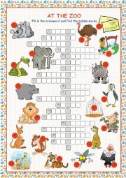 English Worksheet: At the Zoo (Crossword Puzzle)