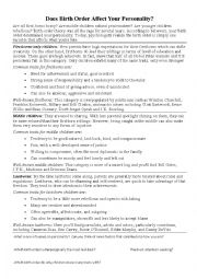 English Worksheet: Birth Order and Job Prediction