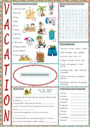 English Worksheet: Vacation Vocabulary Exercises