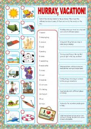 English Worksheet: Vacation (Matching exercises)