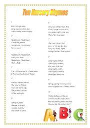 English Worksheet: 10 Nursery Rhymes + Tasks