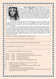 English Worksheet: biography beyoncé