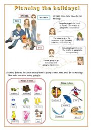 English Worksheet: GOING TO - Planning your holidays!